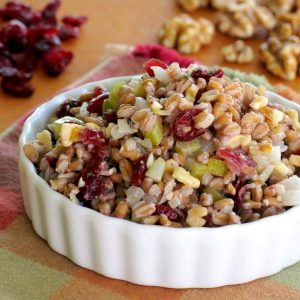 Farro Pilaf Recipe with Cranberries and Walnuts