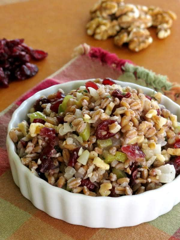 Farro Stuffing Recipe with Cranberries and Walnuts