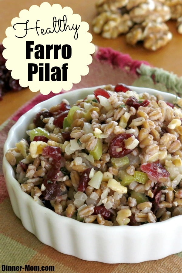 Healthy Farro Pilaf with cranberries and walnuts is a side dish,