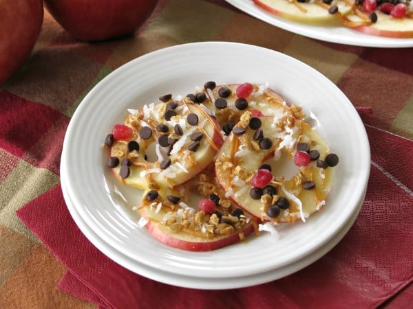 Serving of Healthy Apple Nachos on plate