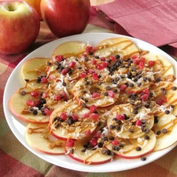 Healthy Apple Nachos on a Plate
