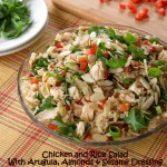 Chicken and Rice Salad with Arugula, Almonds and Peppers