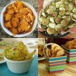 Picture collage of healthy chips alternatives - sweet potato chips, zucchini chips, parmesan cheese crisps and apple chips
