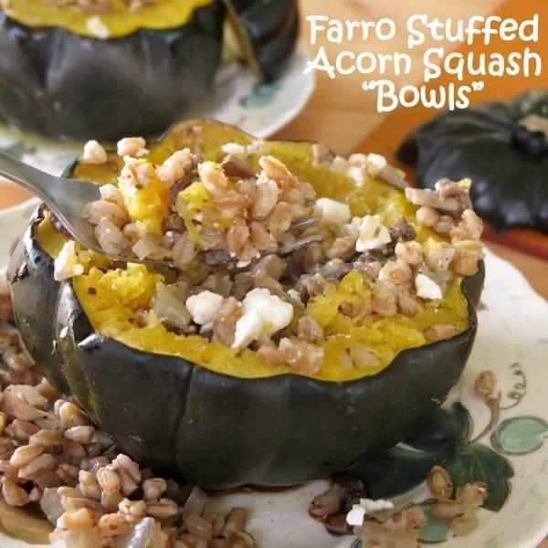 Roasted Acorn Squash Bowls Stuffed with Farro