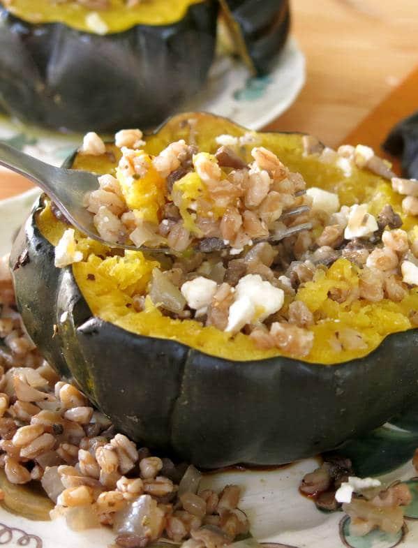 Roasted Acorn Squash Stuffed with Farro Recipe