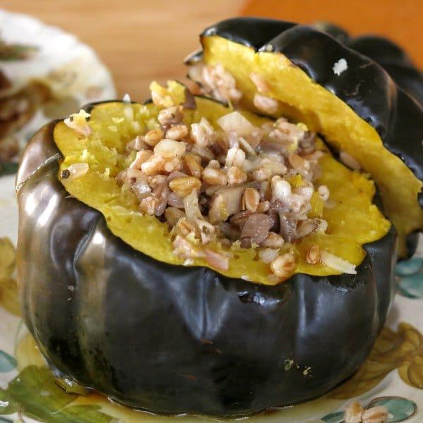 Roasted Acorn Squash Stuffed with Farro, Mushrooms and Onions