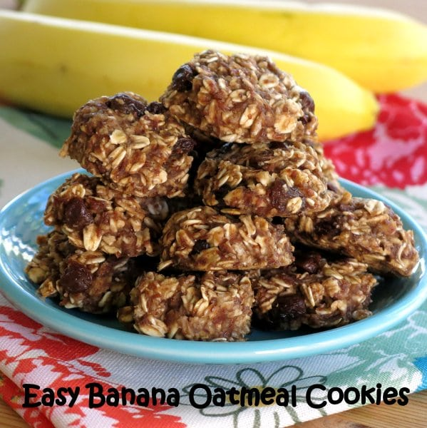 Easy Banana Oatmeal Cookies with Raisins - perfect for breakfast or a healthy snack!