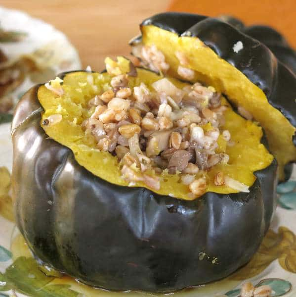 Vegan Stuffed Acorn Squash with lid to the side