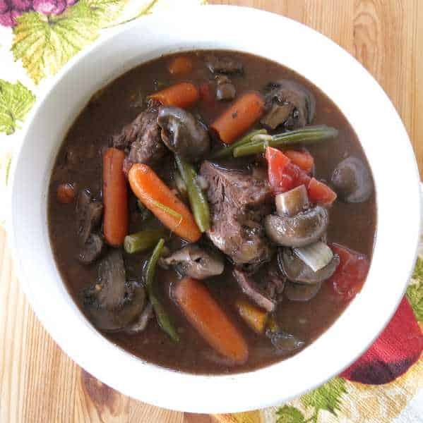Crock Pot Beef and Vegetables in Red Wine Sauce in bowl
