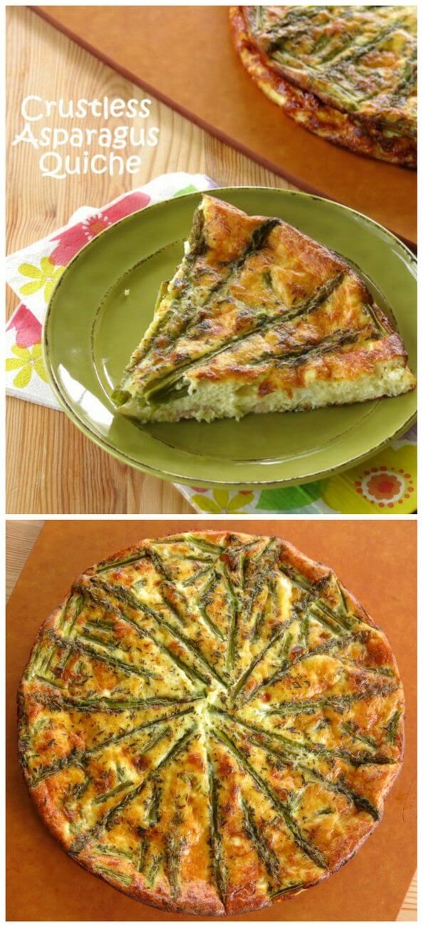 Crustless Asparagus Quiche Recipe with Ham