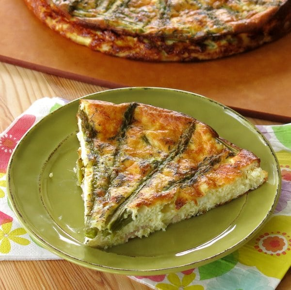 Crustless Asparagus Quiche Recipe on plate