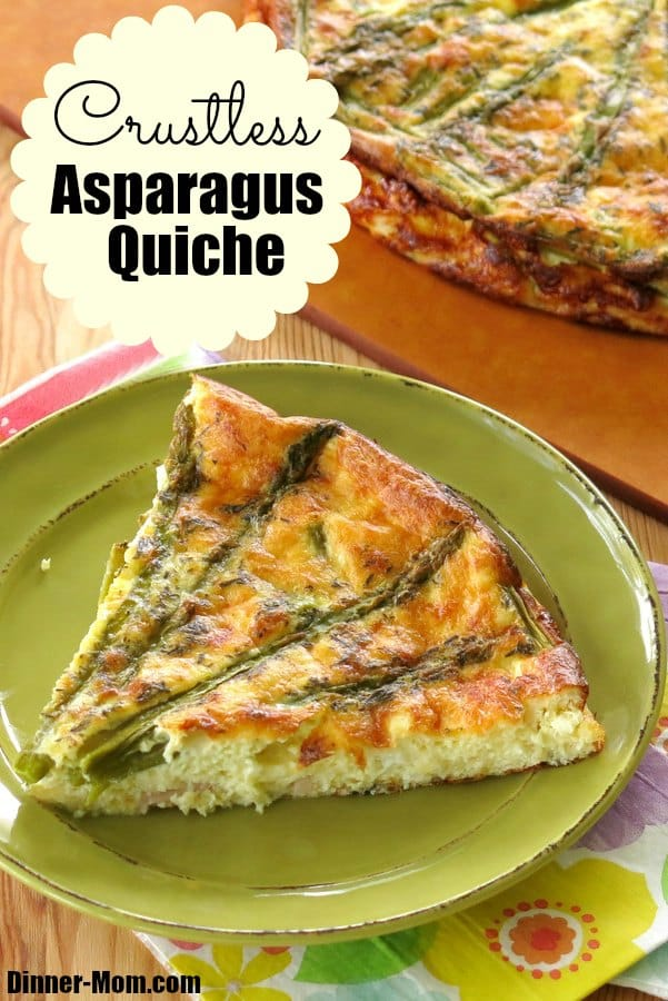 Crustless Asparagus Quiche - low-carb, gluten-free. Healthy recipe that is easy to adapt for other vegetables. #crustlessquiche #lowcarbdiet