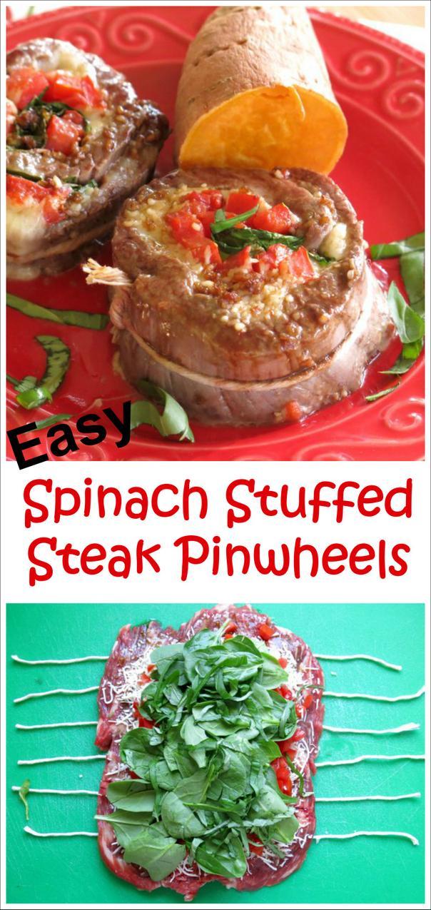 Easy Spinach Stuffed Steak Pinwheels