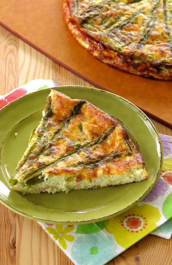 Crustless asparagus quiche low carb gluten free the dinner mom asparagus quiche crustless on plate forumfinder