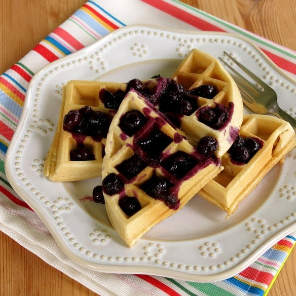 Waffles Topped with Easy Blueberrry Compote
