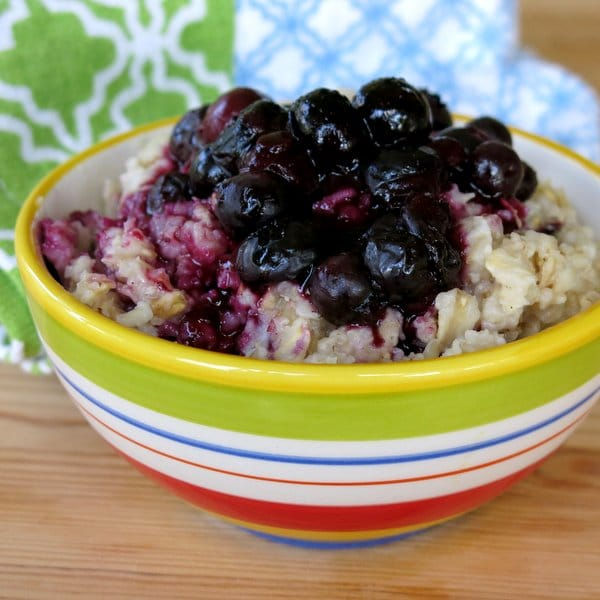 Oatmeal topped with Homemade Blueberry Compote