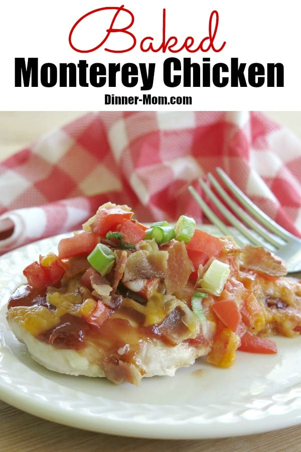Baked Monterey Chicken Recipe - A copycat of a Chili's restaurant favorite. Easy recipe takes minutes to prepare, then you can sit back and relax while it cooks in the oven . Tips to make it low-carb and healthier too! #montereychicken #copycatrecipe