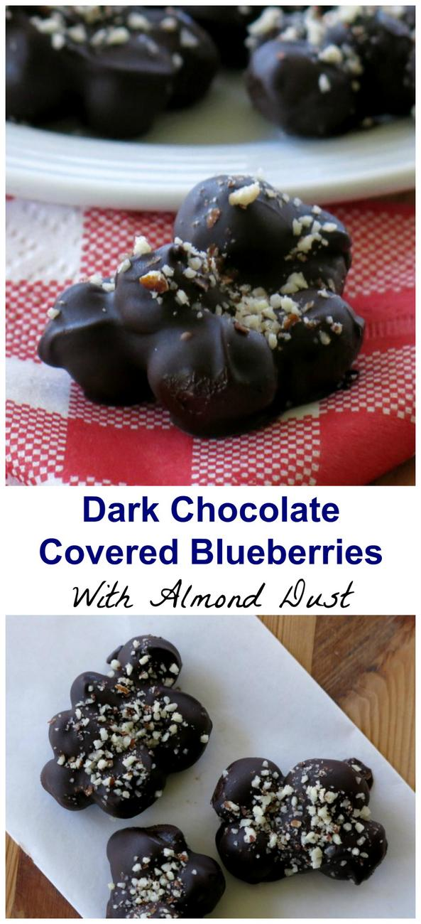 Dark Chocolate Covered Blueberries with Almond Dust