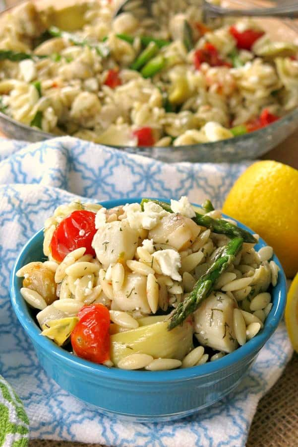 Scallops and Orzo Pasta Recipe in bowl