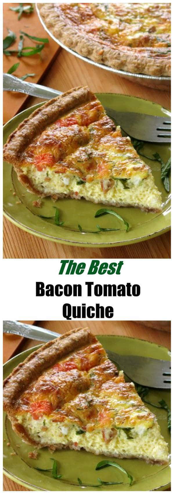 Tomato Bacon and Basil Quiche Recipe - perfect for breakfast, lunch or dinner! Plus quiche is the easiest freezer recipe ever! So make two!