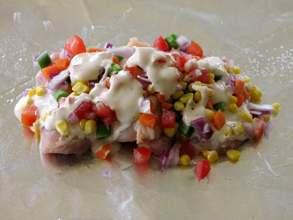 Spicy Ranch Chicken and Confetti Vegetables in Grilled Foil Packets