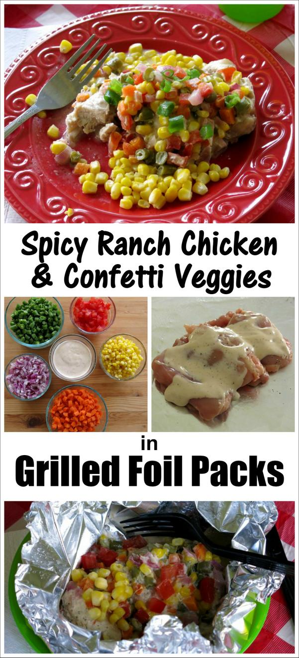 Spicy Ranch Chicken and Confetti Veggies in Grilled Foil Packets