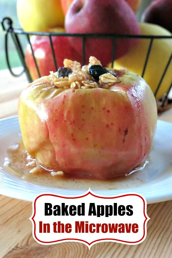 Baked Apples in Microwave - healthy and gluten-free. It will remind you of apple pie, but only takes 3 minutes to cook! Easy recipe! #bakedapples #apples