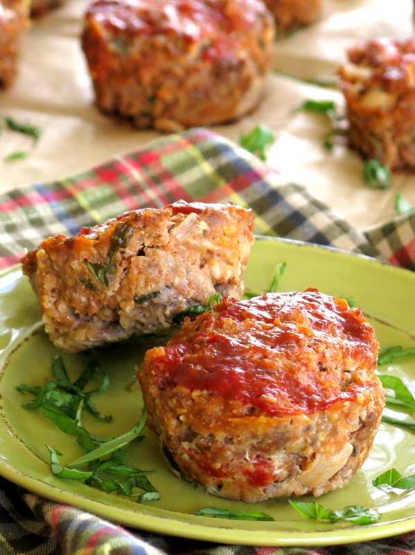 Sun-dried tomato mozzarella meatloaf recipe in muffin shape on a plate