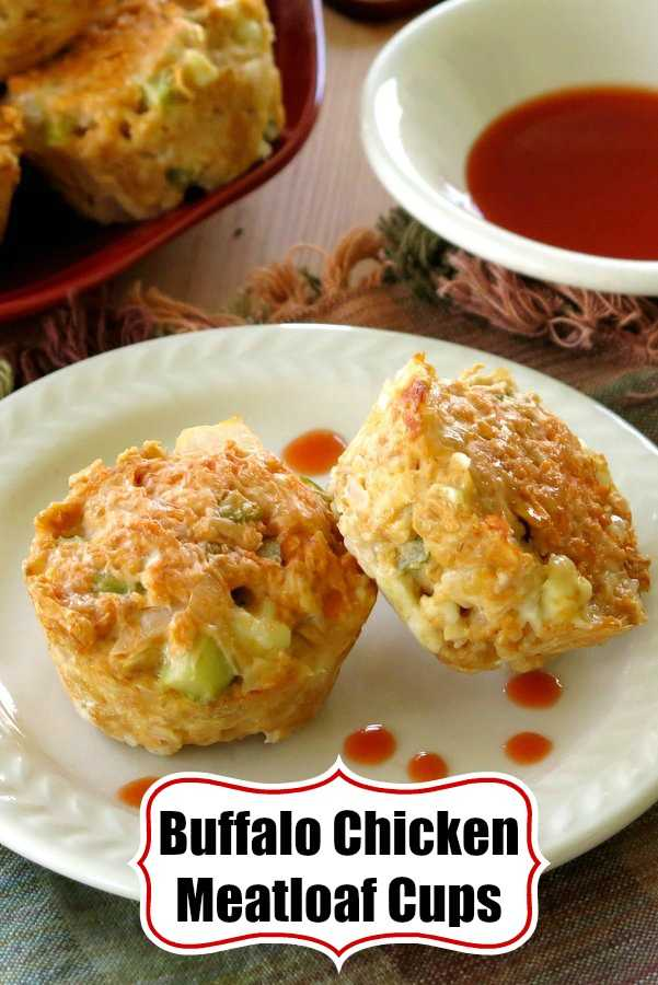 easy buffalo chicken meatloaf cups recipe