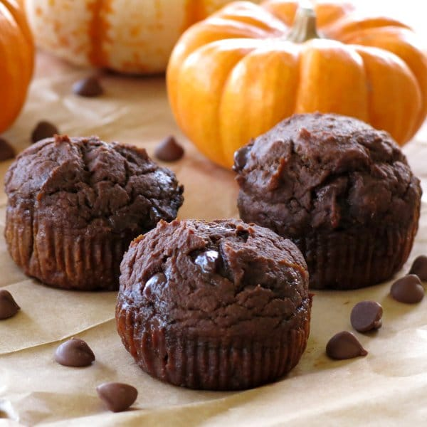 Three Healthy Chocolate Pumpkin Muffins in front of a pumpkin