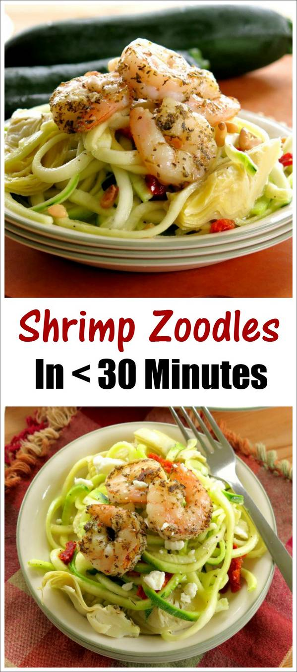 Shrimp Zoodles Recipe with Artichokes, Sundried Tomatoes and Pine Nuts. Ready in less than 30 minutes.
