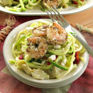 Zoodles and Shrimp Recipe with tomatoes and pine nuts