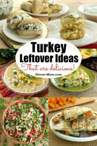 Collage of ideas for turkey leftovers