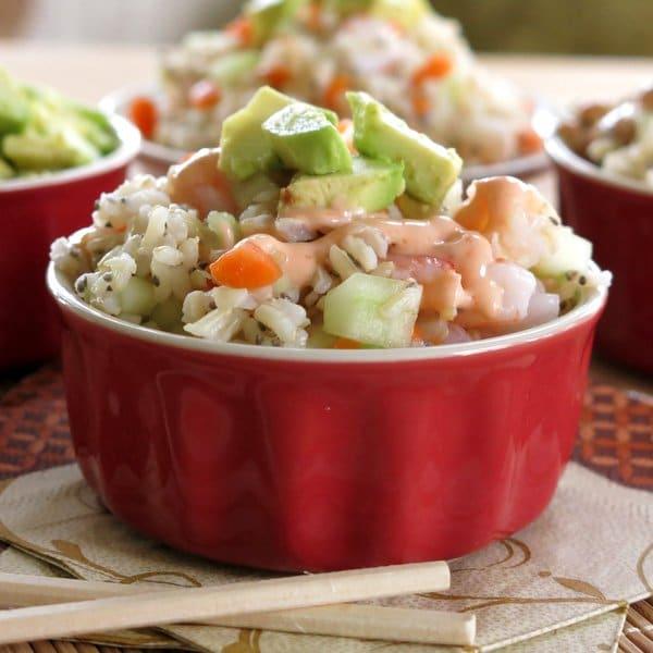Shrimp Sushi Roll Salad with Creamy Sriracha Dressing