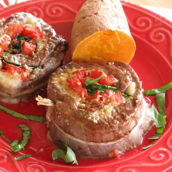 Spinach Stuffed Steak Pinwheels Recipe