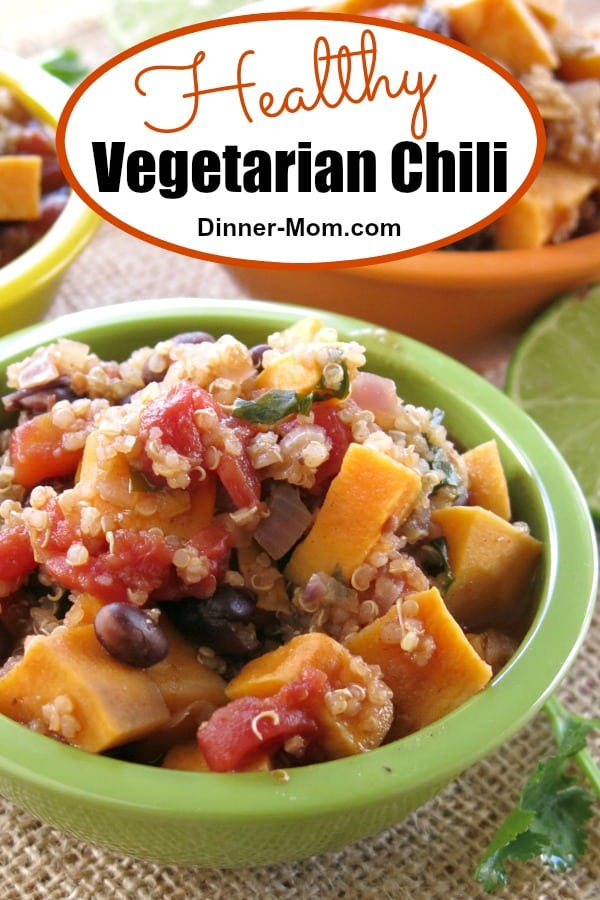 Everyone will love this healthy vegetarian chili recipe with black beans. sweet potato and quinoa. It's vegan. gluten-free and ready in 30 minutes. #vegetarianchjili #vegetarianrecipes