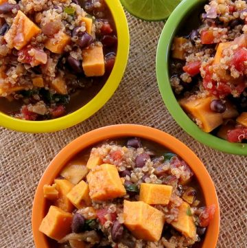 Sweet Potato Black Bean Chili with Quinoa Recipe