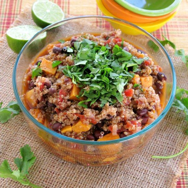 Sweet Potato Black Bean Chili with Quinoa Recipe