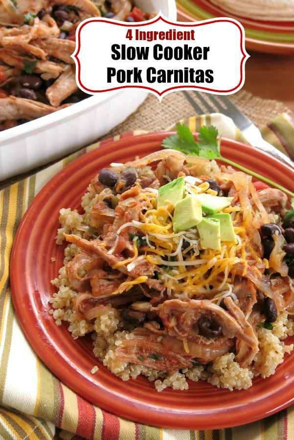 Slow Cooker Pork Carnitas Recipe with just 4 Ingredients - 3  if you leave out the black beans! Make tacos, sandwiches or serve over rice for an easy and healthy meal. #carnitas