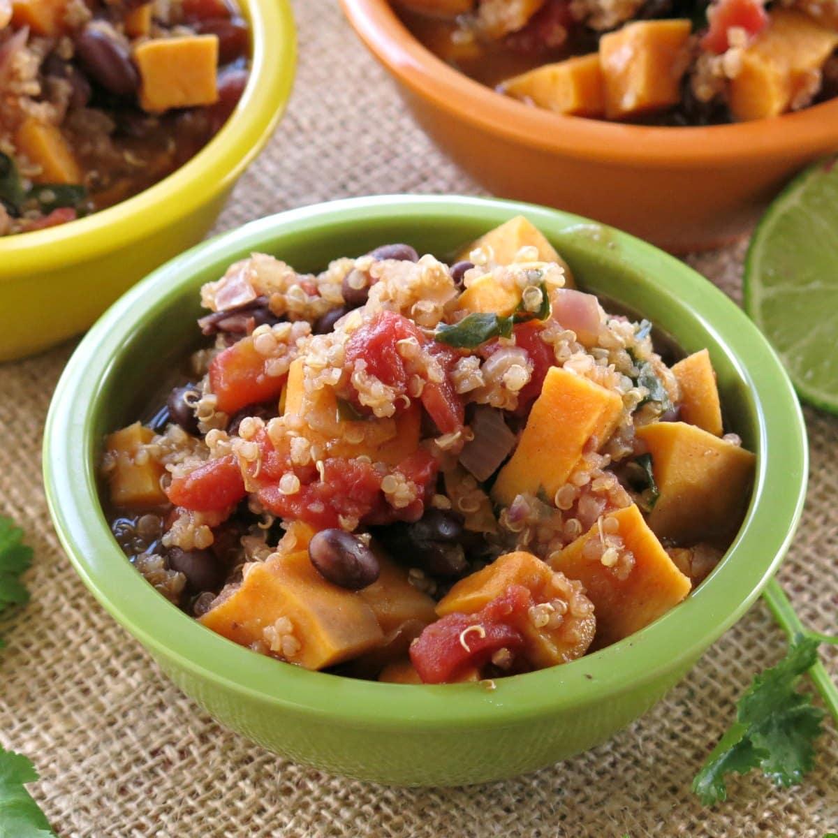 Bowl of Sweet Potato Black Bean Chili with Quinoa