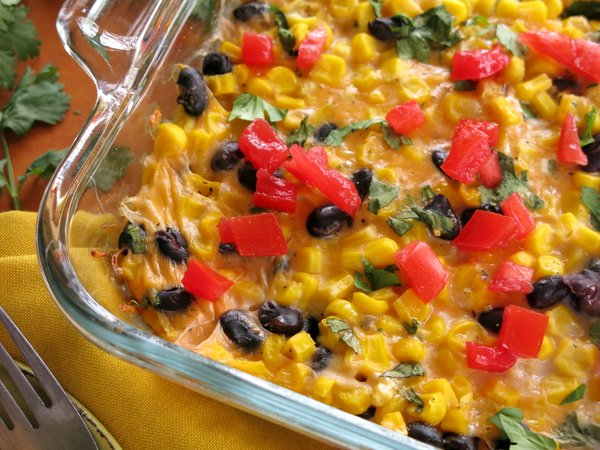 Tex Mex Cheddar Corn Casserole Recipe in baking dish