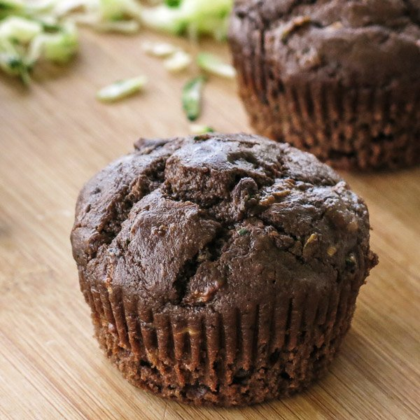 Death by Chocolate Zucchini Muffin on a cutting board