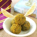3 Ingredient Harry Potter Golden Snitch Truffle Recipe plus instructions for easy wings. No bake balls are ready in no time. Vegan option.