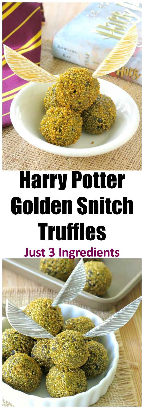 Harry Potter Golden Snitch Truffles Recipe - Just 3 Ingredients Plus Template for Paper Wings. Edible balls are perfect as a cake topper too. No bake with vegan option.