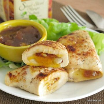 Mango Chutney Chicken and Brie Roll-ups on plate