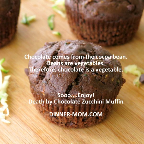 Chocolate is a Vegetable Quote on top of a chocolate muffin