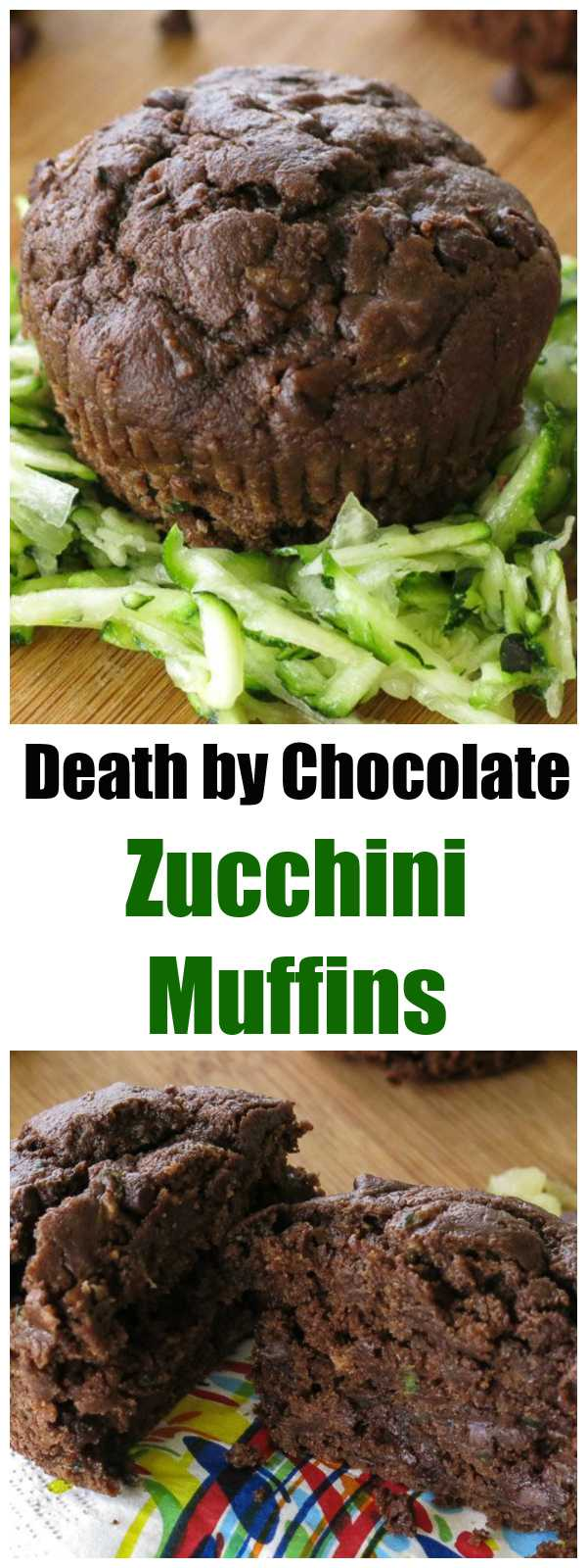 These are THE BEST Death by Chocolate Zucchini Muffins! Healthy, moist, vegan and sooo tasty. We make them all the time!