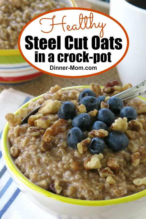Make Healthy Steel Cut Oats in a crock-pot and mornings will be just a little easier. Top with blueberries or check out our list for a toppings bar. #slowcookersteelcutoats #crockpotoatmeal