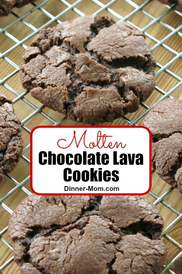 Amazing Molten Chocolate Lava Cookies have chocolate oozing out of all the cracks. There is a vegan option there EVERYONE will love! #chocolatelavacookies #chocolatecookies