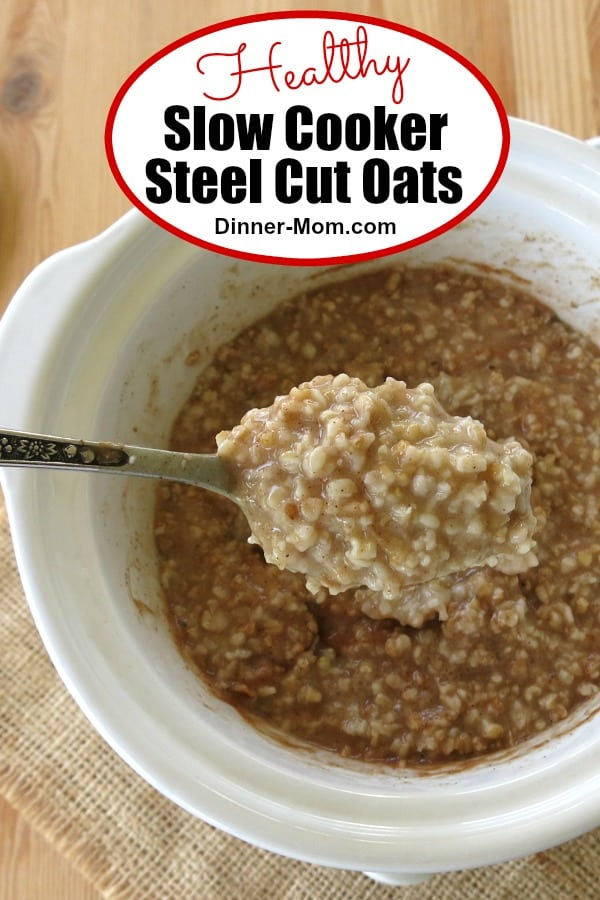 Slow Cooker Steel Cut Oats are easy to make. Cook them overnight and enjoy a hot breakfast in the morning. Top with fruit and nuts for a healthy meal. #slowcookersteelcutoats #crockpotoatmeal